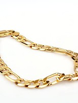 Vogue 20CM Men's 24K Yellow Gold Filled Bracelet Figaro Curb Link Chain 8MM Width
