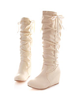 Women's Shoes Wedge Heel Slouch Boots Dress Black / Pink / White / Beige
