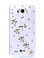 jolies fleurs avec diy cas motif en strass en plastique dur pour LG G3 v20
