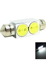 36MM  2W  2xCOB 140-160LM 6500-7500K White Light LED For Car Reading Lamp/License Lamp (DC12V)