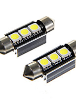 Festoon 36mm 3*5050SMD Car LED Rome Lamp Warm White Light (12V 2PCS)