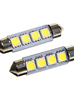 4*5050 SMD LED 42mm Car Interior Dome Festoon White Bulb Light (DC12V 2PCS)