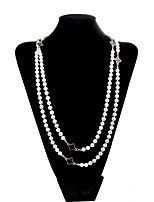 Lureme®Korean Style Black clovers Pearl Necklace