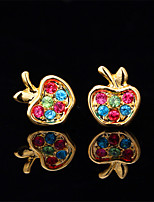 InStyle 18K Chunky Gold Plated Apple Stud Rhinestone Earrings High Quality