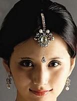 indiano strass multicolor estilo e liga cadeia testa para as mulheres (branco e vermelho) (1pc)