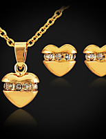 Instyle Pendant Stud Earrings Jewelry Set 18K Gold Platinum Plated Choker Necklace Rhinestone Jewellry