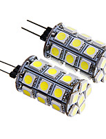 G4 4W 27x5050 SMD 300-350LM Warm/White Light LED Corn Bulb (12V 2PCS)