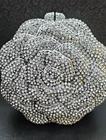 Women's Rose Design Crystal Clutch Purse