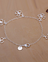 Siver Plated Four Leaves Clover Copper Chain Bracelet
