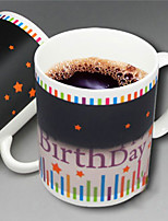 Happy Birthday Star Pattern Color Change Mug Heat Sensitive Coffee Cup