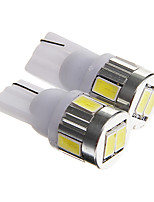 T10 3W 250lm 6000-6500k 6-SMD 5730 LED Cool White Light Car License Plate / Reading Lamp  (DC12V  2PCS)