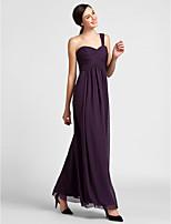 Платье для подружек невесты - Виноградный  Платье-чехол На одно плечо Длина до пола Шифон  Большие размеры