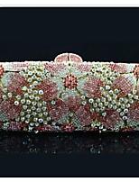 Women's Flower Design Rhinestone Hand Clutch Bag