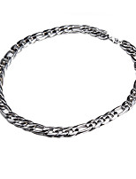 55cm-62cm,10mm,Silver-Plated Luxurious Figaro Chain Men's Super Thick Chunky Chain Necklace