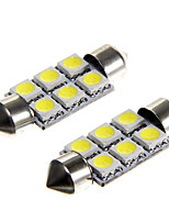 6*5050 SMD LED 36mm Car Interior Dome Festoon White Bulb Light (DC12V 2PCS)