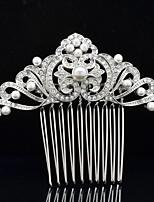 Jóia nupcial 8,5 centímetros de strass casamento pentear o cabelo tiara de pérolas de imitação para a festa