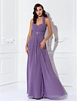 Brautjungfernkleid - Purpur Chiffon - Etui-Linie - bodenlang - Neckholder