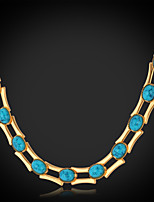 U7®Turquoise Stone Necklace Chain 18K Real Gold Platinum Plated Turkey Stone Exquisite Jewelry Gift for Women