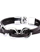 Punk Style Three Circles Silver Alloy Leather Bracelet(1 Pc)