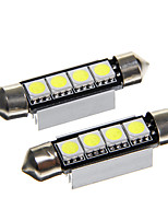 Festoon 0.5W 42mm 4*5050SMD 45LM Car LED Rome Lamp Warm White Light (12V 2PCS)