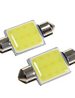 36mm 2W 100LM 6000K White LED for Car Reading Lamp (DC12V, 2Pcs)
