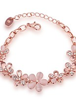 De gelukkige poppenvrouwen alle overeenkomende rose goud platied kristal armband