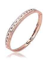 Fashion Round Shape Rose Gold Plated Czech Drill Bangle Bracelets (Rose Gold)(1Pc)