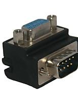 standard di angolo retto 90 gradi DB9P femmina adattatore del connettore 9 pin maschile