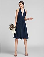 Knee-length Chiffon / Satin Bridesmaid Dress - Dark Navy Plus Sizes / Petite Sheath/Column Halter