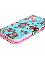 Blue Flower Design Leather Case Cover with Stand and Card Slot for Nokia Lumia 630 635