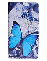 Blue Butterfly Pattern PU Leather Case with Stand and Card Slot for HTC Desire 510