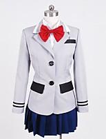 Innoittamana Cosplay Cosplay Anime Cosplay-asut Cosplay Puvut Patchwork Valkoinen Punainen Sininen Harmaa Toppi Pusero Hame Collar Varten