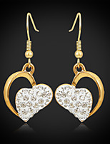 U7®New Luxury Women's Drop Dangle Heart Earrings 18K Gold Plated Austrian Rhinestone Crystal Jewelry Gift for Women