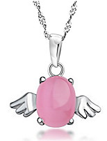 Women's Silver  Angel Wings Necklace With Opal