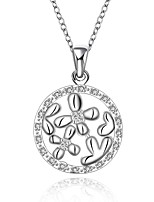 Fashion Flower Shape Silver Plated Silver Pendant Zircon Necklace(White)(1Pc)