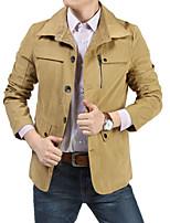 Men's Casual Plus Sizes Pure Long Sleeve Regular Jacket (Cotton Blend)