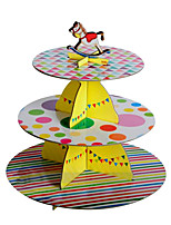 Three-Layer Colorful Strips&Dots Cake Stand with Carousel Topper