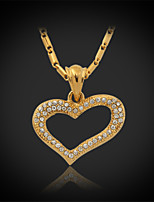 U7®Hot Sale Luxury Heart Charms Pendant Necklace 18K Real Gold Plated Rhinestone Crystal Jewelry Gift for Women