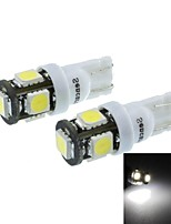 T10(149 168 W5W) 2.5W 5X5060SMD 160-190LM 6500-7500K White Light for Car Parking Lamp(DC12-16V/A Pair)