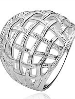 Fashion Ball Shape Silver Plating European Style Foreign Trade Simple Ring Jewelry (Silver)(1Pc)