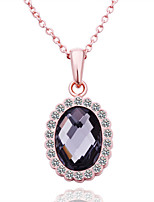 Fashion Round Shape Tin Alloy Rose Gold Plated Zircon Necklace(Purple)(1Pc)
