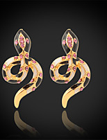 U7®New Enamel Snake Earrings 18K Real Gold Plated Clear Austrian Rhinestone Stud Jewelry for Women