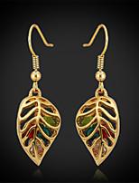 U7®Cute Leaves Women's Drop Dangle Earrings 18K Real Gold Plated Austrian Rhinestone Exquisite Jewelry Gift for Women