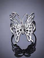 Fashion Butterfly Shape Silver Plating Foreign Trade Ring Jewelry (Silver)(1Pc)
