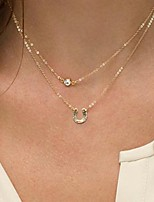 Shixin® Simple (Horseshoe) Alloy Imitation Pearl Tiny Pendant Necklace (Golden) (1 Pc)