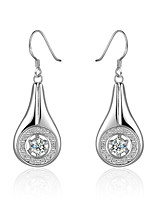 Concise Silver Plated Clear Crystal Waterdrop Dangle Earrings for Party Women Jewelry Accessiories
