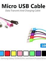 1m v8 micro usb kleuren round-kabel voor Samsung en andere telefoon (verschillende kleuren)