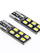 De-coded T10 2.5W 12-2835 SMD 6000K White Light Universal Car LED Width Reading Bulbs(DC12V 2PCS)