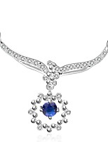 Fashion Drop Shape Copper Silver Plated Foreign Trade Zircon Necklace(White,Blue)(1Pc)