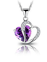 Women's Silver Heart Water Wave Necklace With Purple Rhinestone